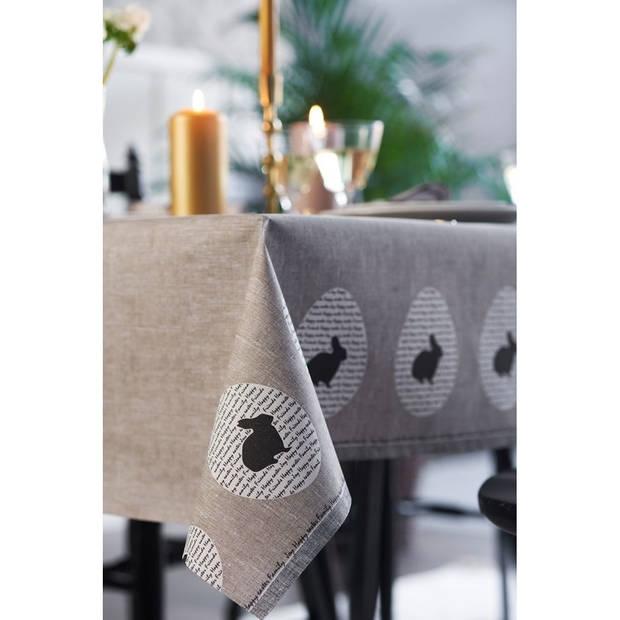 20x Pasen tafelkleed/tafellaken konijn rustiek grijs/beige 138 x 220 cm - Pasen thema papieren tafeldecoraties