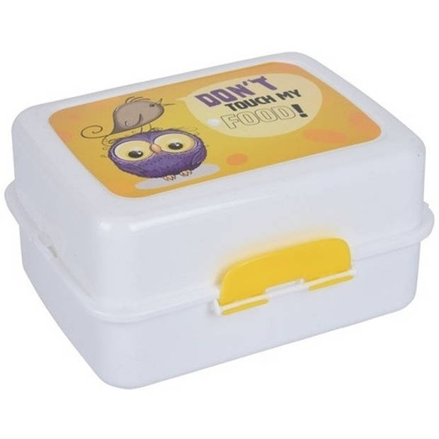 Lunchtrommel/lunchbox uil print geel - Broodtrommels/lunchtrommels/lunchboxen met bestek