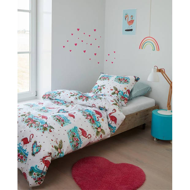 Beddinghouse Kids Dekbedovertrek Flamingo Flower - Roze - 140x200/220 - 1-Persoons 140x200/220 cm