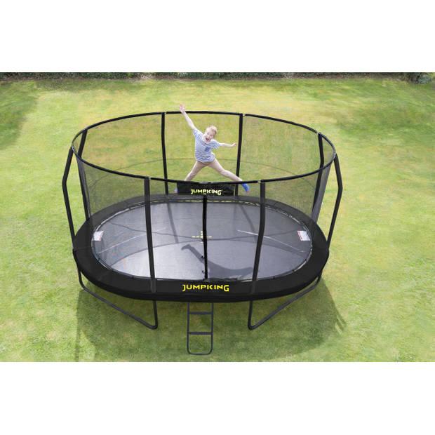 Jumpking trampoline met net JumpPod Oval 396x274cm zwart (2016)