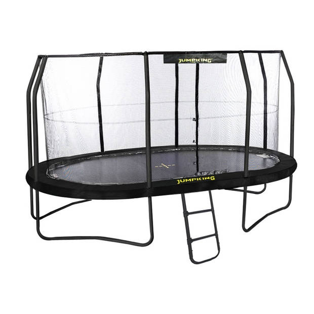 Jumpking trampoline met net en ladder JumpPod Oval 457 x 305 cm zwart (2016)