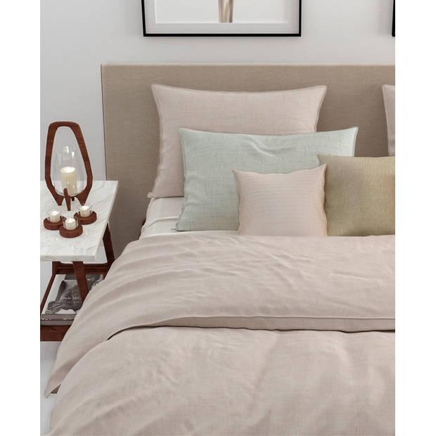 Zo! Home dekbedovertrek Lino - Zandy Beige - Lits-jumeaux XL 260x200/220 cm