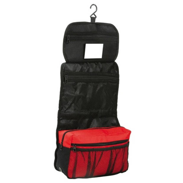 Hangende toilettas/make-up tas zwart/rood 27 cm voor heren/dames - Reis toilettassen/make-up etui ophangen - Handbagage