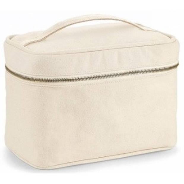Toilettas/make-up tas naturel met handvat 23 cm voor heren/dames - Reis toilettassen/make-up etui - Handbagage