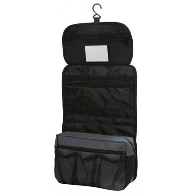Hangende toilettas/make-up tas zwart 27 cm voor heren/dames - Reis toilettassen/make-up etui ophangen - Handbagage