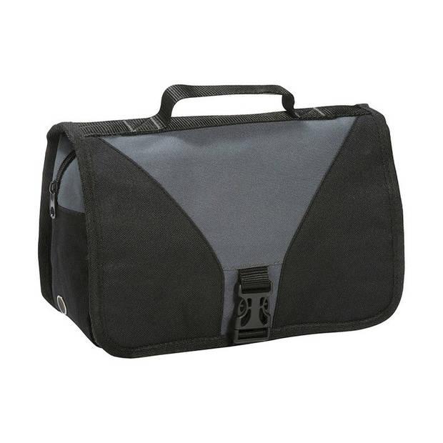 Hangende toilettas/make-up tas zwart/grijs 27 cm voor heren/dames - Reis toilettassen/make-up etui ophangen - Handbagage