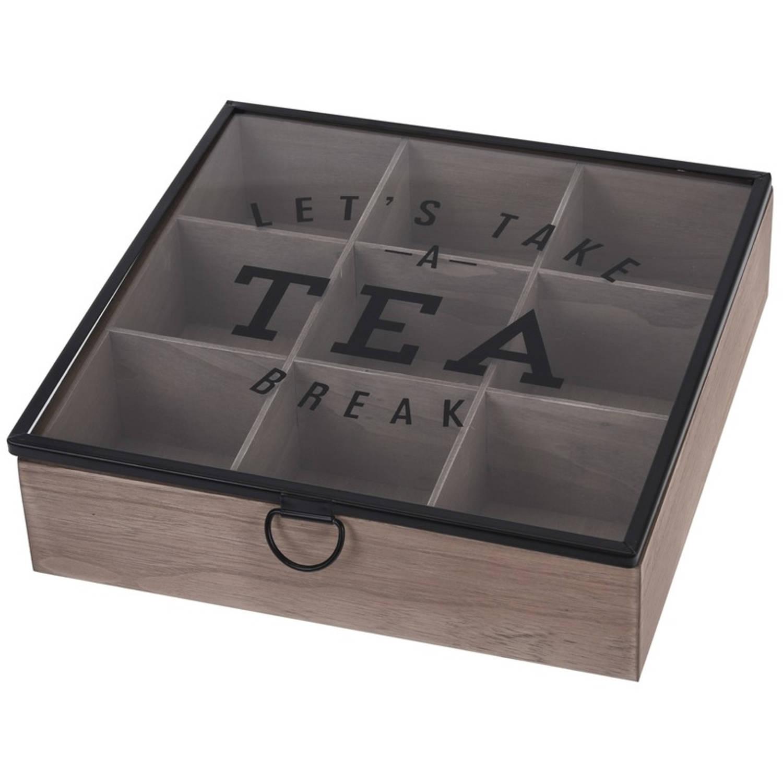 Houten Theedoos Bruin Tea Break 9-vaks 25 Cm - Theedozen/theekisten Van Hout 25 Cm