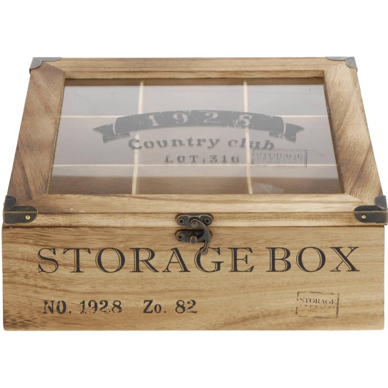 Houten Theedoos Bruin Storage Box 9-vaks 25 Cm - Theedozen/theekisten Van Hout 25 Cm