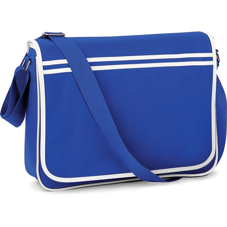 Retro schoudertas-aktetas blauw-wit 40 cm voor dames-heren Schooltassen-laptop tassen met schouderba