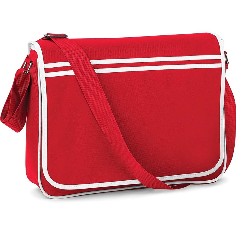 Retro schoudertas-aktetas rood-wit 40 cm voor dames-heren Schooltassen-laptop tassen met schouderban