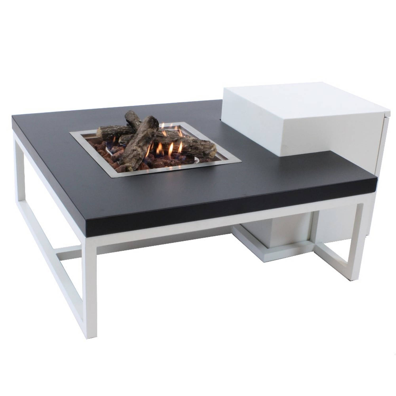 Enjoyfires Vuurtafel Ambiance Vierkant Wit-zwart 90x90x35 Cm
