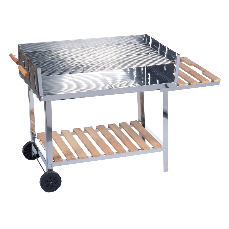 Houtskoolbarbecue 100x85 Cm Rvs Barbecue Op Trolleywagen Buitenkeuken