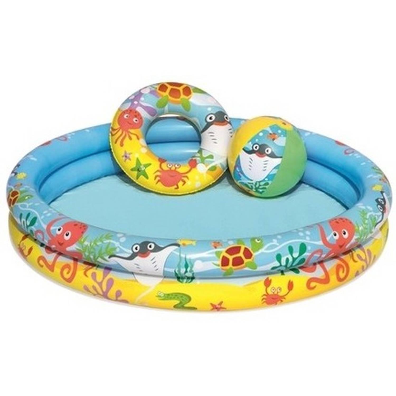 Kinder Opblaas Zwembad 122 X 25 Cm Inclusief Reparatieset Strandbal En Zwemband Kinderbad Opblaasbare Zwembad