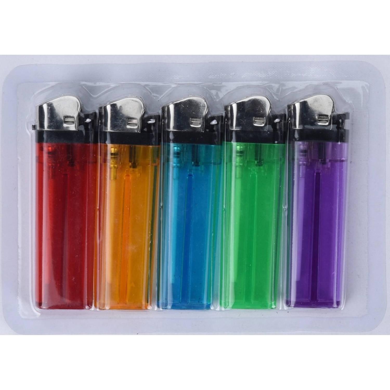 Korting 5x Gekleurde Aanstekers 9 Cm Sigaretten Aanstekers 5 Stuks Wegwerp Aanstekers