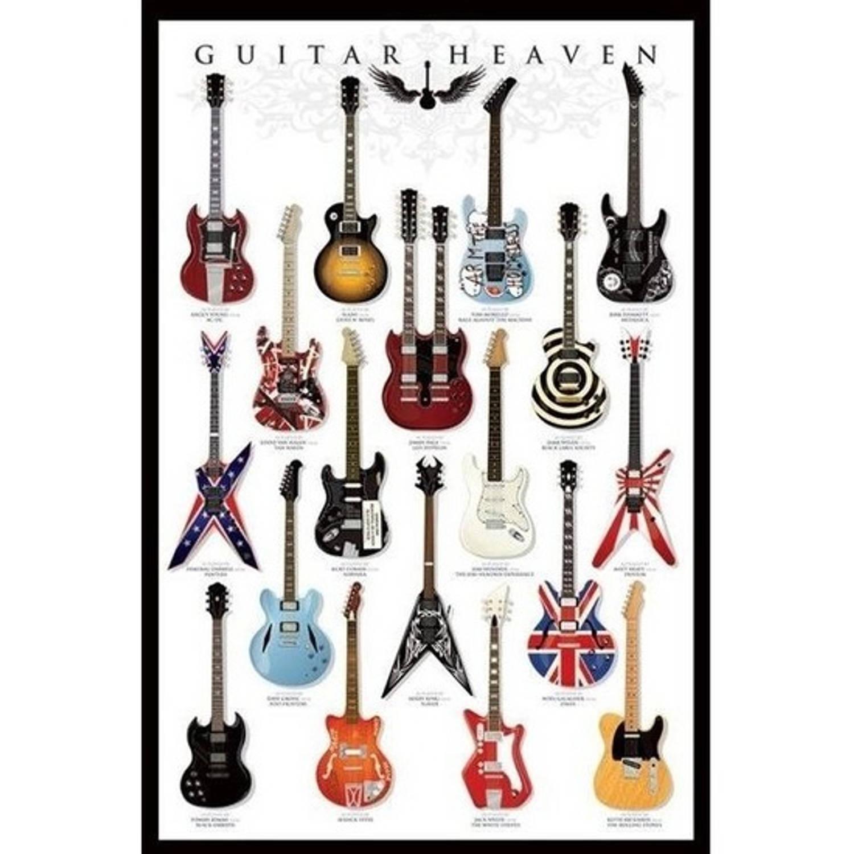 Poster Guitar Heaven 61 X 91 Cm - Muziek Thema Posters - Wanddecoratie/muurdecoratie