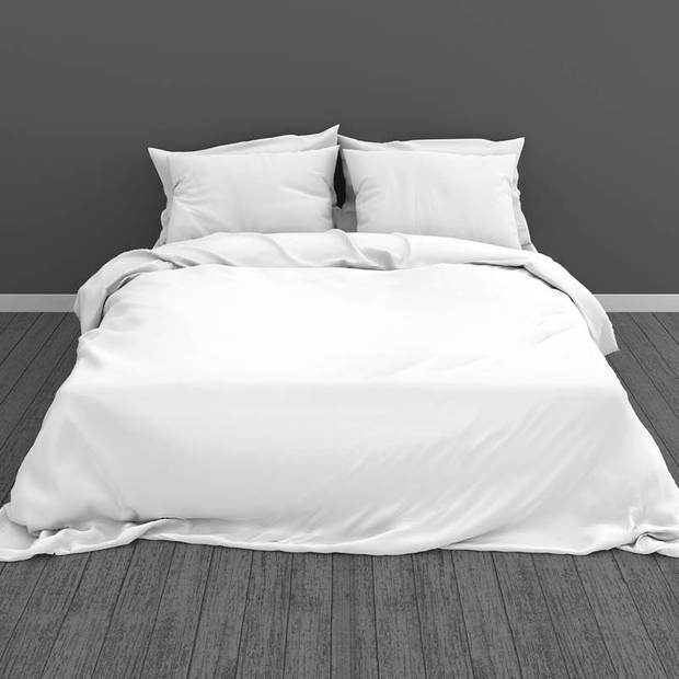Snoozing Two Tone dekbedovertrek - Lits-jumeaux (270x200/220 cm + 2 slopen) - Katoen - Wit/Wit