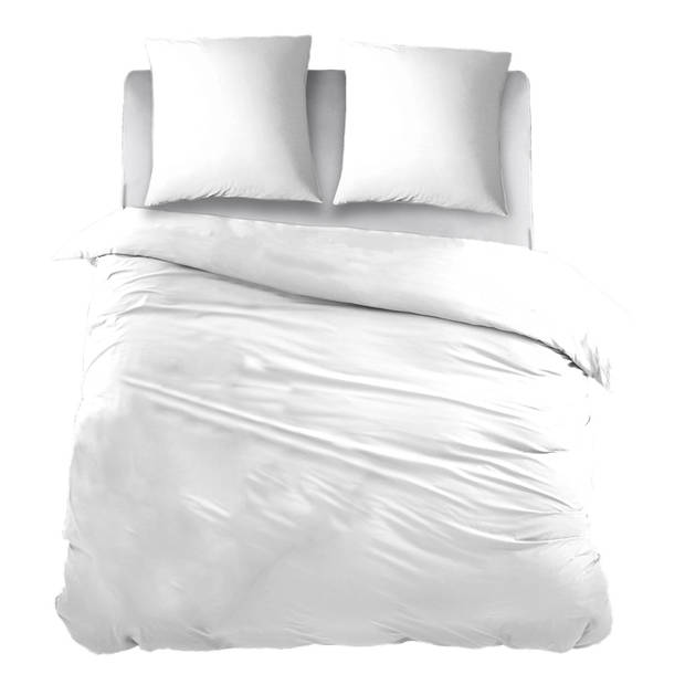 Snoozing Two Tone dekbedovertrek - 100% katoen - 1-persoons (140x200/220 cm + 1 sloop) - Wit/Wit