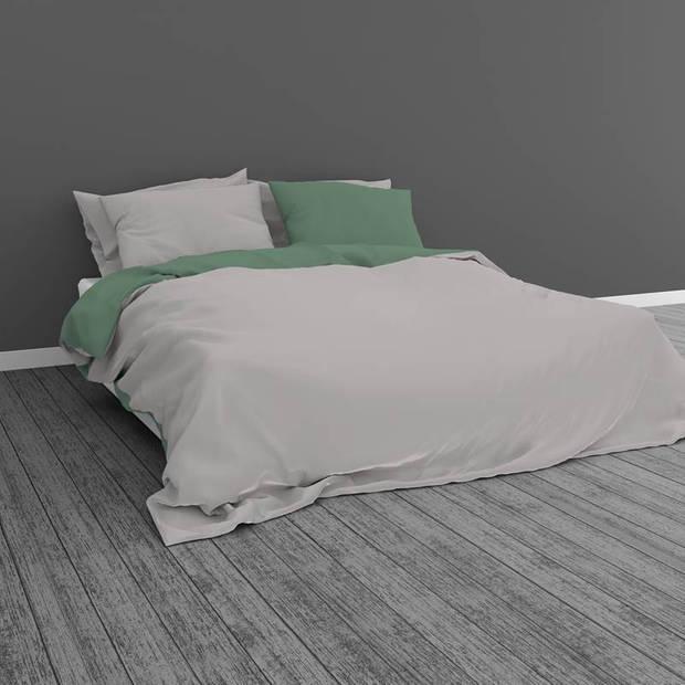 Snoozing Two Tone dekbedovertrek - 2-persoons (200x200/220 cm + 2 slopen) - Katoen - Groen/Grijs