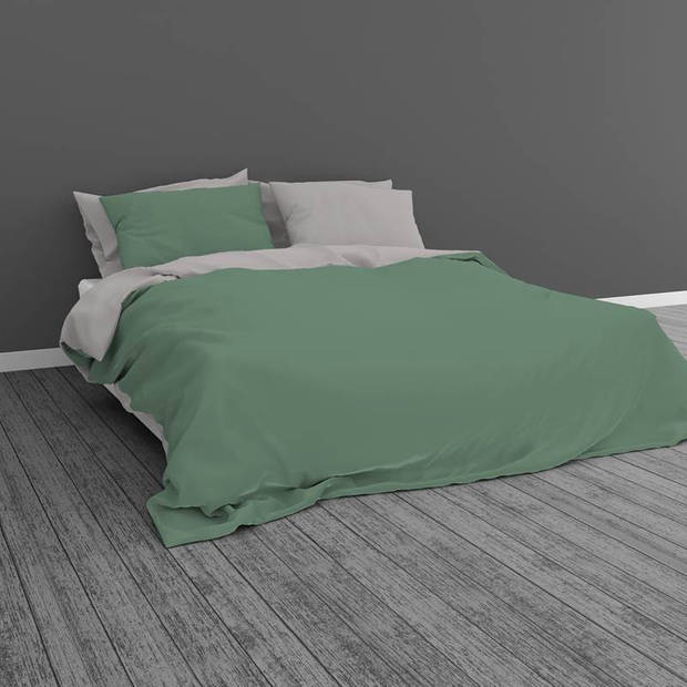 Snoozing Two Tone dekbedovertrek - Lits-jumeaux (240x200/220 cm + 2 slopen) - Katoen - Groen/Grijs