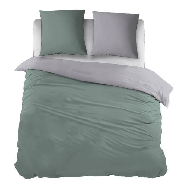 Snoozing Two Tone dekbedovertrek - 100% katoen - 1-persoons (140x200/220 cm + 1 sloop) - Groen/Grijs