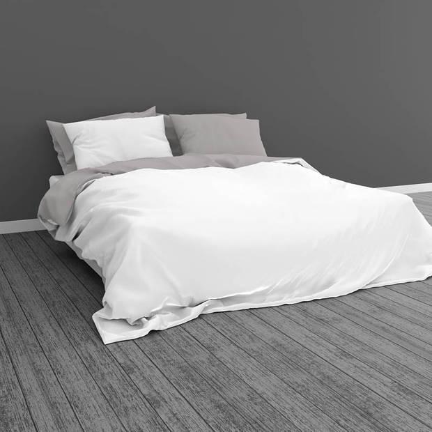 Snoozing Two Tone dekbedovertrek - Lits-jumeaux (270x200/220 cm + 2 slopen) - Katoen - Wit/Grijs