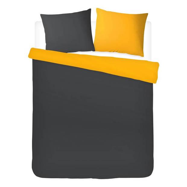 Snoozing Two Tone dekbedovertrek - 100% katoen - 1-persoons (140x200/220 cm + 1 sloop) - Oker/Antraciet