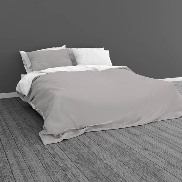 Snoozing Two Tone dekbedovertrek - 2-persoons (200x200/220 cm + 2 slopen) - Katoen - Wit/Grijs