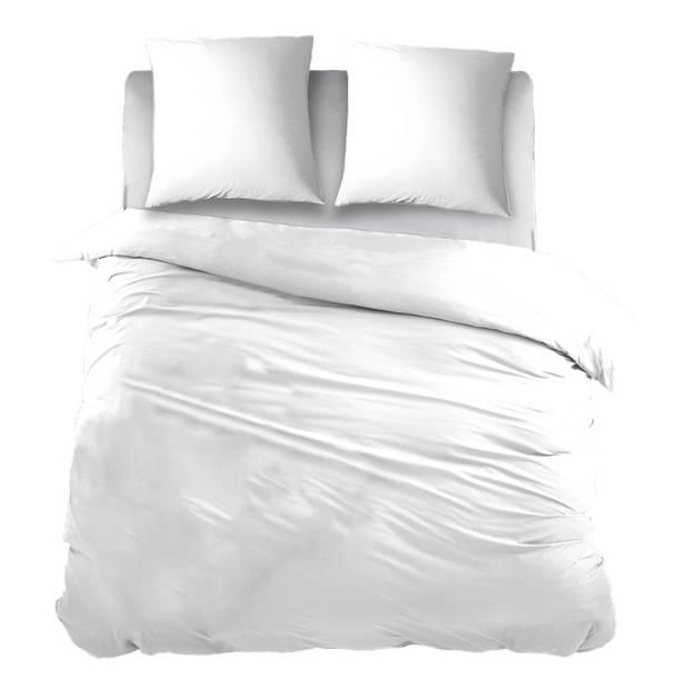 Snoozing Two Tone flanel dekbedovertrek - 100% geruwde flanel-katoen - 1-persoons (140x200/220 cm + 1 sloop) - Wit/Wit