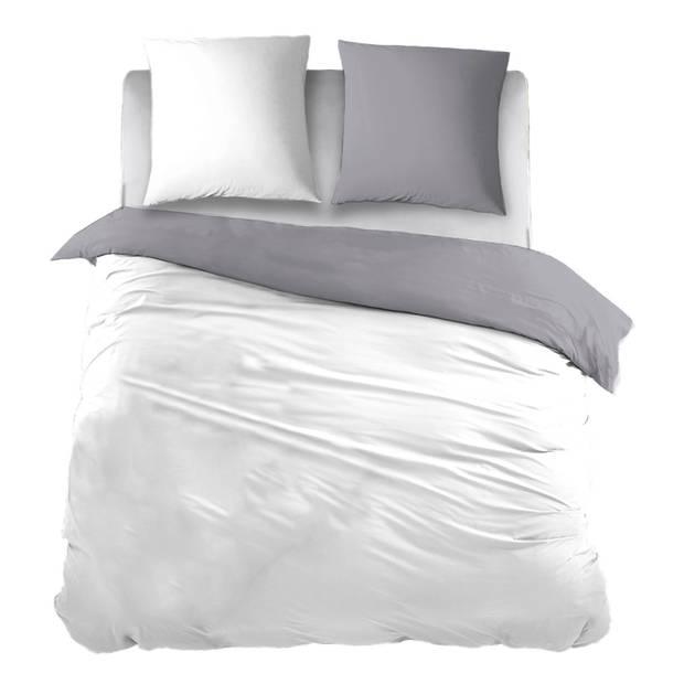 Snoozing Two Tone flanel dekbedovertrek - 100% geruwde flanel-katoen - 1-persoons (140x200/220 cm + 1 sloop) - Wit/Grijs