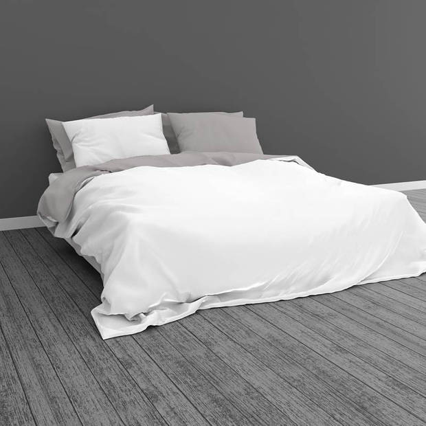 Snoozing Two Tone dekbedovertrek - Lits-jumeaux (240x200/220 cm + 2 slopen) - Katoen - Wit/Grijs