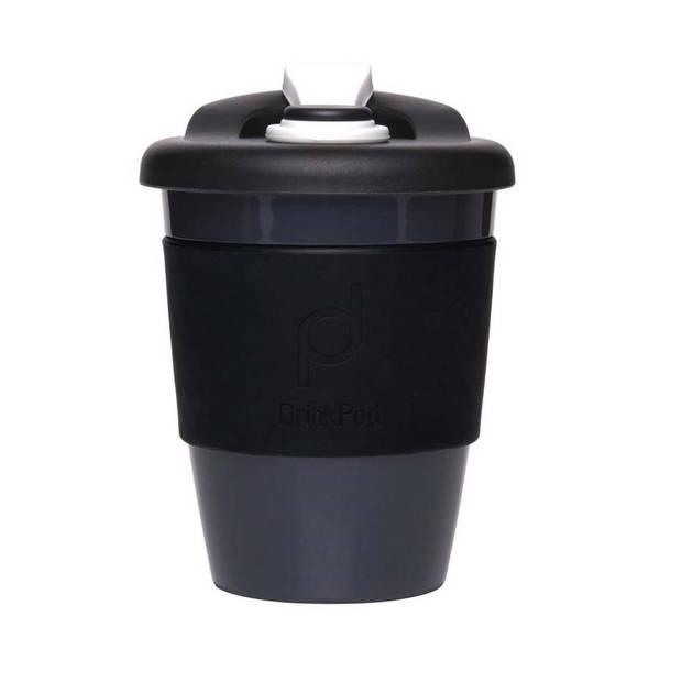 Herbruikbare Koffiebeker - 340ml - Zwart - Kunststof - Pioneer