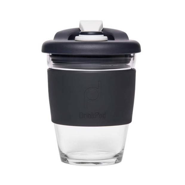 Herbruikbare Koffiebeker - 340ml - Zwart - Glas - Pioneer