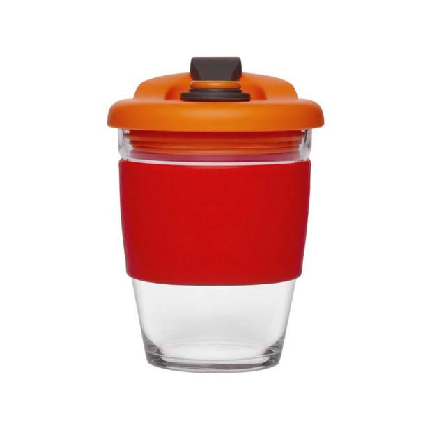 Herbruikbare Koffiebeker - 340ml - Vulcano Red - Glas - Pioneer