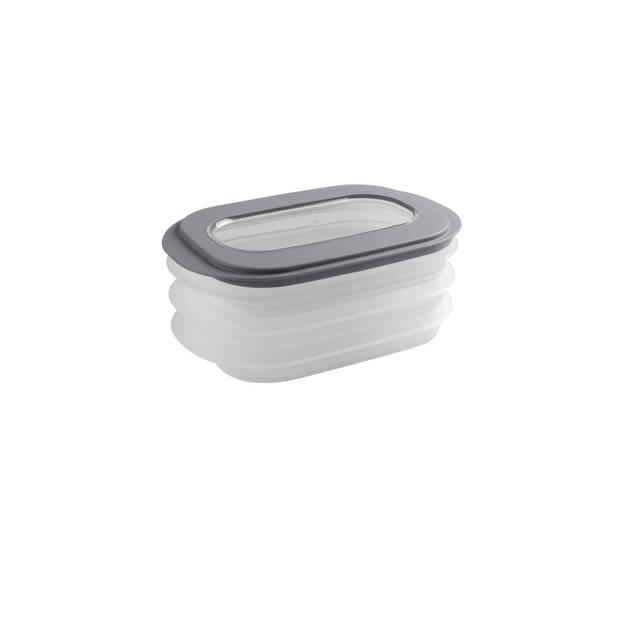 Sigma home Vleeswarendoos - 3 niveau's/schaaltjes - transp/donker grijs