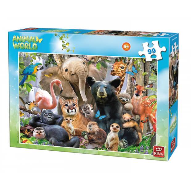 King International legpuzzel Animal World Bosdieren 99 stukjes