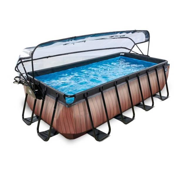 EXIT zwembad Wood 400x200cm met overkapping en filterpomp - bruin