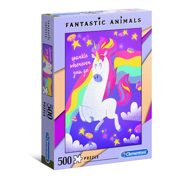 Clementoni puzzel Fantastic Animals 500 stukjes eenhoorn