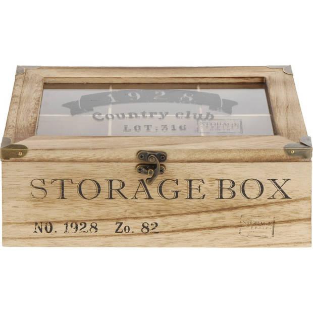 Houten theedoos bruin Storage Box 6-vaks 24 cm - Theedozen/theekisten van hout 24 cm