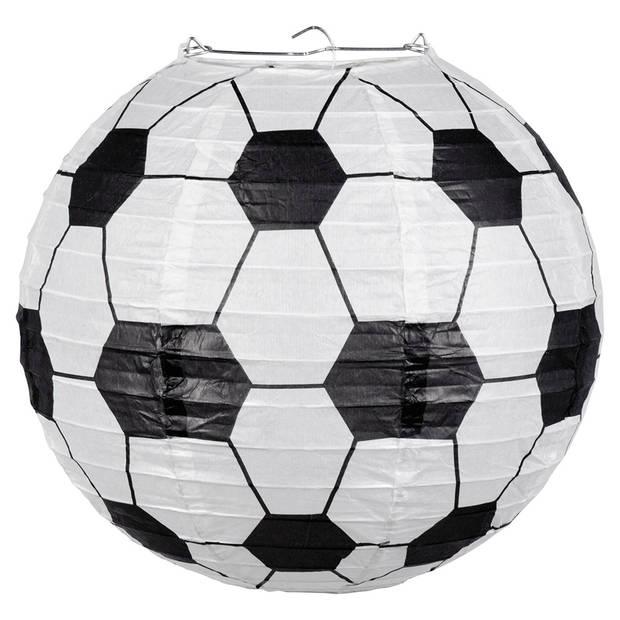 Boland voetbal lampion 25 cm zwart/wit