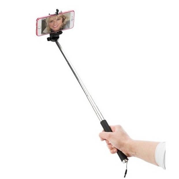 Zilveren fotostick/selfiestick voor smartphones - Uitschuifbaar tot 116 cm - selfies maken