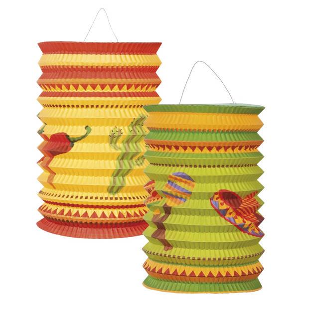Boland lampionnen Mexico Fiesta 16 cm 2 stuks multicolor