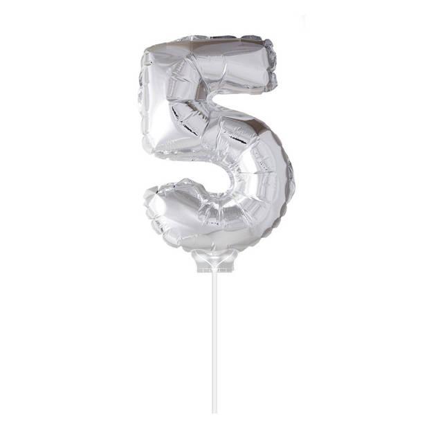 Haza Original Folie Ballon 5 zilver 40cm