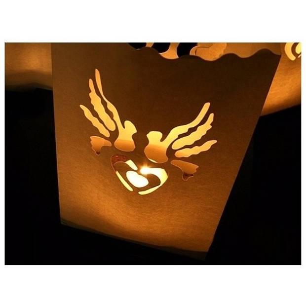 Candle Bag set Hart en Duif print 26 cm