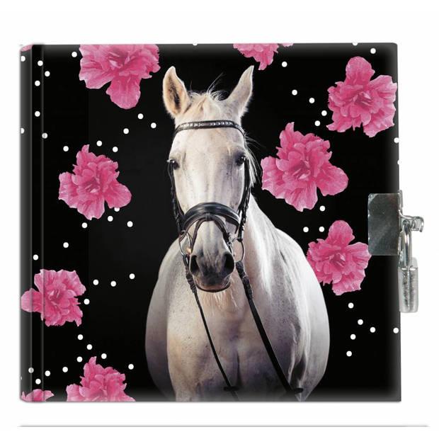 Animal Pictures Paard Flowers - Dagboek - 13,5 x 13 cm - Inclusief slotje