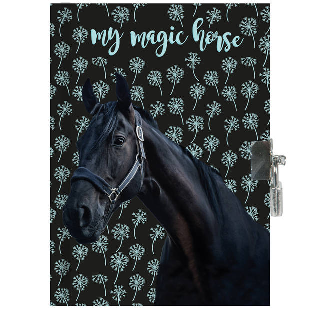 Animal Pictures Zwart Paard - Dagboek - 15 x 20 cm - Inclusief slotje