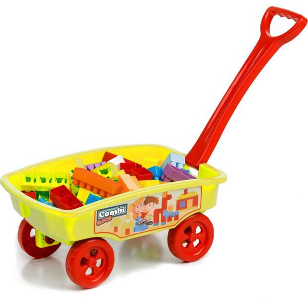 Paradiso Toys blokkenwagen 69 cm geel 50-delig