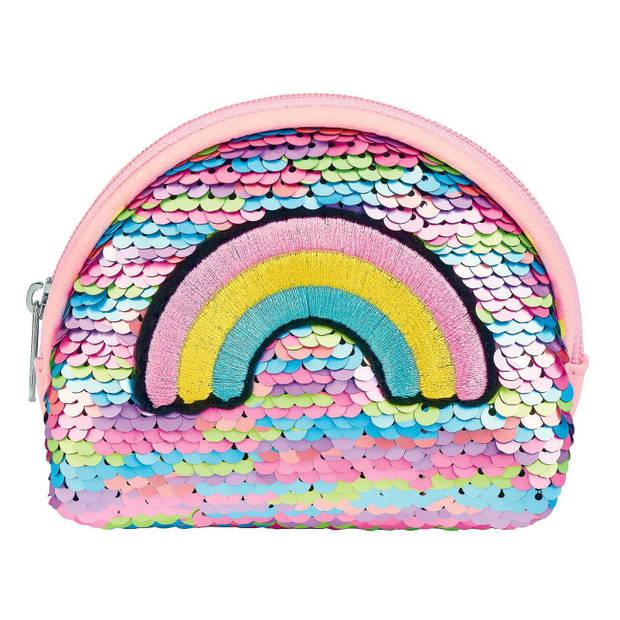Moses portemonnee regenboog pailletten roze 11 cm