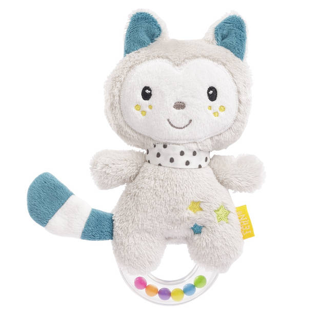 Fehn Aiko & Yuki rammelaar kitten 18 cm grijs/blauw