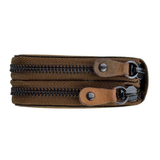 Ven Tomy Vintage Dames Ritsportemonnee RFID met Dubbele Rits – Leer - Bruin