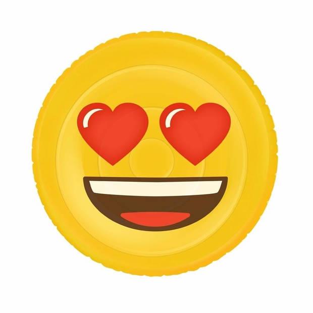 Opblaasbare hartjesogen emoticon luchtbed 130 x 110 cm